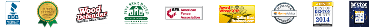 fence company credentials and award logos