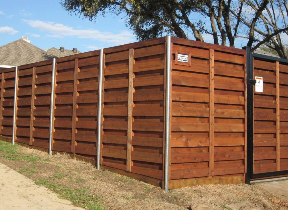 horizontal wood fences