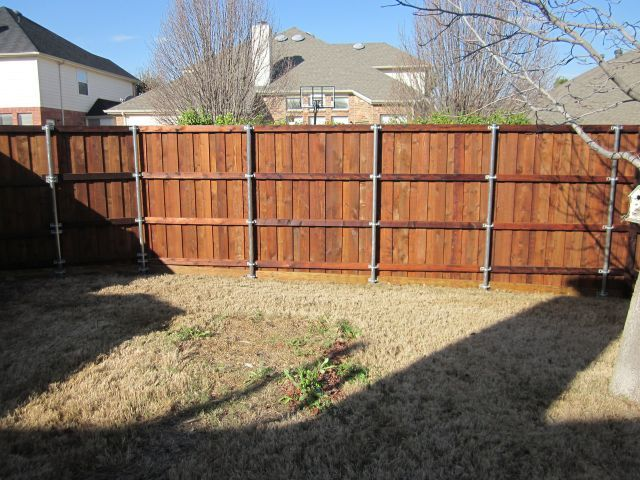 Board On Board Stained Cedar Fence Metal Posts