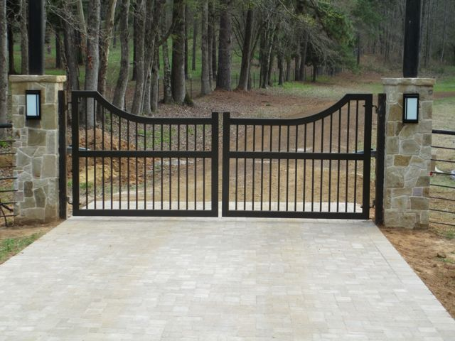 Wrought iron driveway gates and fence automatic gate for Ready made driveway gates