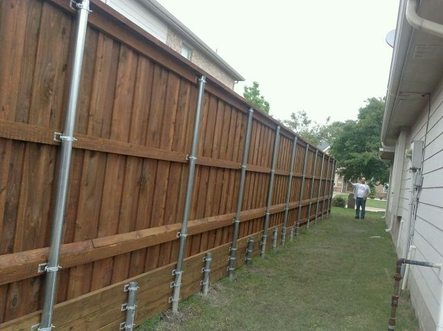 Steel Posts Board on Board Fence McKinney TX