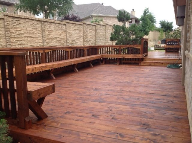 cedar decking - cedar deck with wrap around bench