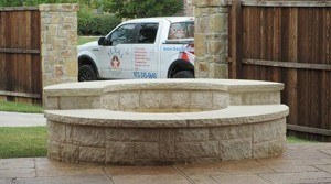 Outdoor Contractor - Outdoor Fire Pit with Texas Best Fence Business Truck
