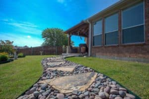 Outdoor features - stone and rock walkway in backyard