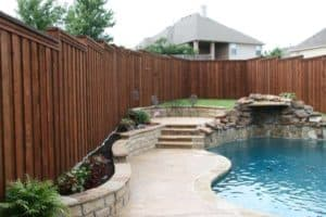 Outdoor features - hardscaping in backyard with pool