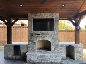 outdoor fire features - outdoor stone fire place
