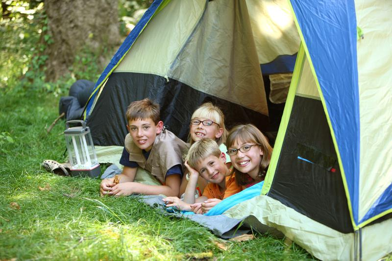 backyard camping - Group of kids in tent