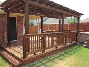 outdoor pests and fence maintenance - patio cover with deck