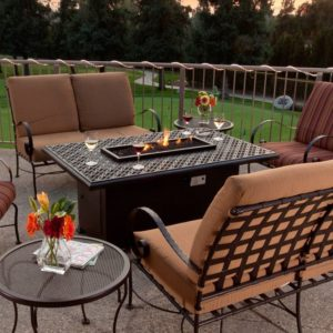 outdoor fire features - fire table with outdoor furniture