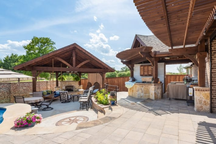 outdoor structures - outdoor living space with patio cover and free-standing patio cover