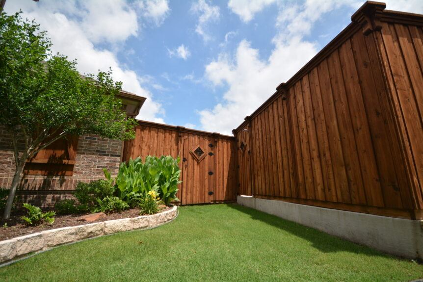 stained fence and gate