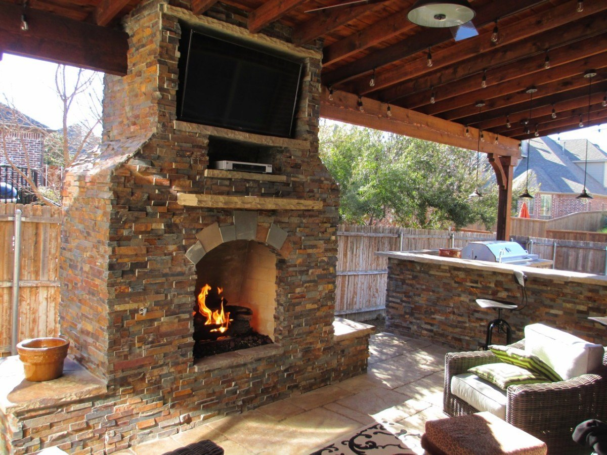 Outdoor Spaces - outdoor fireplace, patio cover, outdoor kitchen